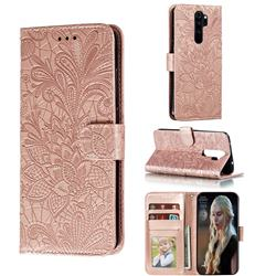 Intricate Embossing Lace Jasmine Flower Leather Wallet Case for Mi Xiaomi Redmi Note 8 Pro - Rose Gold