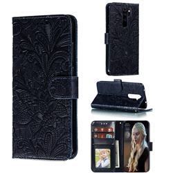 Intricate Embossing Lace Jasmine Flower Leather Wallet Case for Mi Xiaomi Redmi Note 8 Pro - Dark Blue