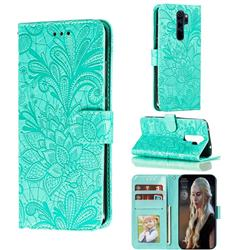 Intricate Embossing Lace Jasmine Flower Leather Wallet Case for Mi Xiaomi Redmi Note 8 Pro - Green