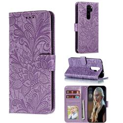 Intricate Embossing Lace Jasmine Flower Leather Wallet Case for Mi Xiaomi Redmi Note 8 Pro - Purple