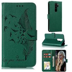 Intricate Embossing Lychee Feather Bird Leather Wallet Case for Mi Xiaomi Redmi Note 8 Pro - Green