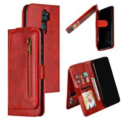 Multifunction 9 Cards Leather Zipper Wallet Phone Case for Mi Xiaomi Redmi Note 8 Pro - Red