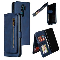 Multifunction 9 Cards Leather Zipper Wallet Phone Case for Mi Xiaomi Redmi Note 8 Pro - Blue