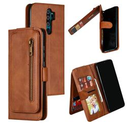 Multifunction 9 Cards Leather Zipper Wallet Phone Case for Mi Xiaomi Redmi Note 8 Pro - Brown