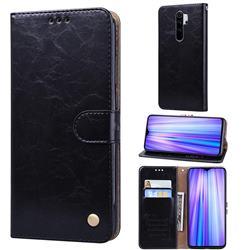 Luxury Retro Oil Wax PU Leather Wallet Phone Case for Mi Xiaomi Redmi Note 8 Pro - Deep Black
