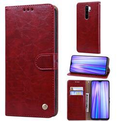 Luxury Retro Oil Wax PU Leather Wallet Phone Case for Mi Xiaomi Redmi Note 8 Pro - Brown Red