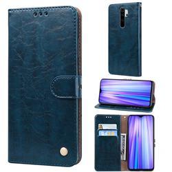 Luxury Retro Oil Wax PU Leather Wallet Phone Case for Mi Xiaomi Redmi Note 8 Pro - Sapphire