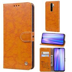 Luxury Retro Oil Wax PU Leather Wallet Phone Case for Mi Xiaomi Redmi Note 8 Pro - Orange Yellow