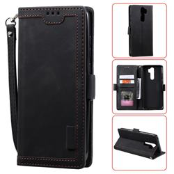 Luxury Retro Stitching Leather Wallet Phone Case for Mi Xiaomi Redmi Note 8 Pro - Black