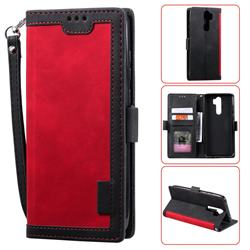 Luxury Retro Stitching Leather Wallet Phone Case for Mi Xiaomi Redmi Note 8 Pro - Deep Red