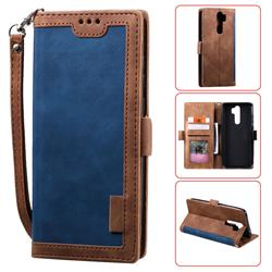 Luxury Retro Stitching Leather Wallet Phone Case for Mi Xiaomi Redmi Note 8 Pro - Dark Blue