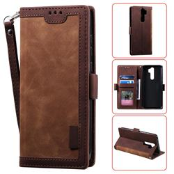 Luxury Retro Stitching Leather Wallet Phone Case for Mi Xiaomi Redmi Note 8 Pro - Dark Brown