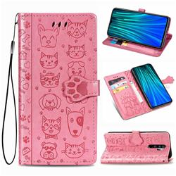 Embossing Dog Paw Kitten and Puppy Leather Wallet Case for Mi Xiaomi Redmi Note 8 Pro - Pink