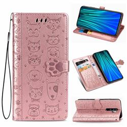 Embossing Dog Paw Kitten And Puppy Leather Wallet Case For Mi Xiaomi Redmi Note 8 Pro Rose Gold Xiaomi Redmi Note 8 Pro Cases Guuds