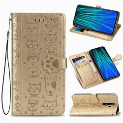 Embossing Dog Paw Kitten and Puppy Leather Wallet Case for Mi Xiaomi Redmi Note 8 Pro - Champagne Gold
