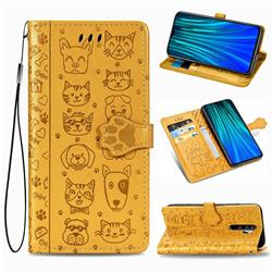 Embossing Dog Paw Kitten and Puppy Leather Wallet Case for Mi Xiaomi Redmi Note 8 Pro - Yellow