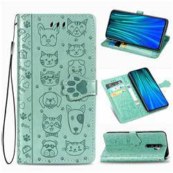 Embossing Dog Paw Kitten and Puppy Leather Wallet Case for Mi Xiaomi Redmi Note 8 Pro - Green