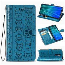 Embossing Dog Paw Kitten and Puppy Leather Wallet Case for Mi Xiaomi Redmi Note 8 Pro - Blue