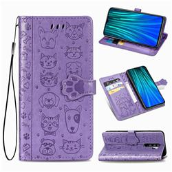 Embossing Dog Paw Kitten and Puppy Leather Wallet Case for Mi Xiaomi Redmi Note 8 Pro - Purple