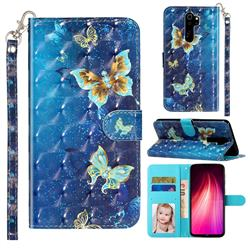 Rankine Butterfly 3D Leather Phone Holster Wallet Case for Mi Xiaomi Redmi Note 8 Pro