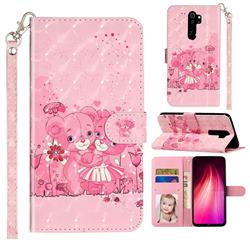 Pink Bear 3D Leather Phone Holster Wallet Case for Mi Xiaomi Redmi Note 8 Pro