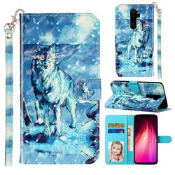 Snow Wolf 3D Leather Phone Holster Wallet Case for Mi Xiaomi Redmi Note 8 Pro