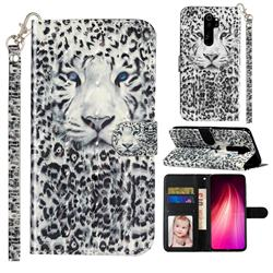 White Leopard 3D Leather Phone Holster Wallet Case for Mi Xiaomi Redmi Note 8 Pro