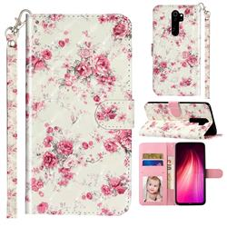 Rambler Rose Flower 3D Leather Phone Holster Wallet Case for Mi Xiaomi Redmi Note 8 Pro