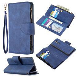 Binfen Color BF02 Sensory Buckle Zipper Multifunction Leather Phone Wallet for Mi Xiaomi Redmi Note 8 Pro - Blue