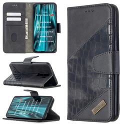 BinfenColor BF04 Color Block Stitching Crocodile Leather Case Cover for Mi Xiaomi Redmi Note 8 Pro - Black