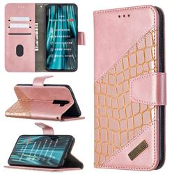 BinfenColor BF04 Color Block Stitching Crocodile Leather Case Cover for Mi Xiaomi Redmi Note 8 Pro - Rose Gold