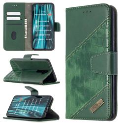 BinfenColor BF04 Color Block Stitching Crocodile Leather Case Cover for Mi Xiaomi Redmi Note 8 Pro - Green