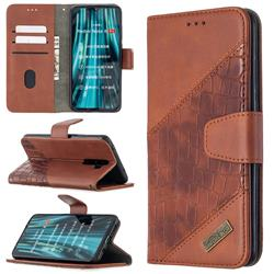 BinfenColor BF04 Color Block Stitching Crocodile Leather Case Cover for Mi Xiaomi Redmi Note 8 Pro - Brown