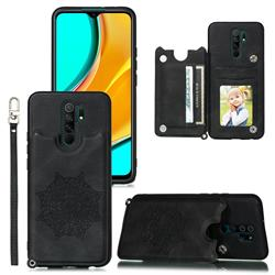 Luxury Mandala Multi-function Magnetic Card Slots Stand Leather Back Cover for Mi Xiaomi Redmi Note 8 Pro - Black
