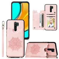 Luxury Mandala Multi-function Magnetic Card Slots Stand Leather Back Cover for Mi Xiaomi Redmi Note 8 Pro - Rose Gold
