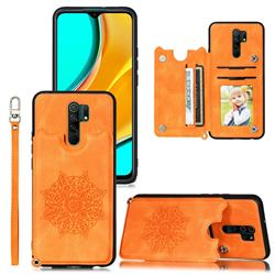 Luxury Mandala Multi-function Magnetic Card Slots Stand Leather Back Cover for Mi Xiaomi Redmi Note 8 Pro - Yellow