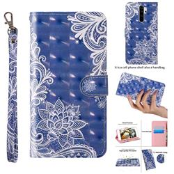White Lace 3D Painted Leather Wallet Case for Mi Xiaomi Redmi Note 8 Pro