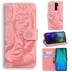 Intricate Embossing Tiger Face Leather Wallet Case for Mi Xiaomi Redmi Note 8 Pro - Pink