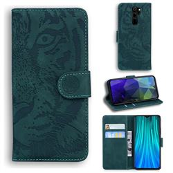 Intricate Embossing Tiger Face Leather Wallet Case for Mi Xiaomi Redmi Note 8 Pro - Green