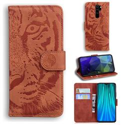 Intricate Embossing Tiger Face Leather Wallet Case for Mi Xiaomi Redmi Note 8 Pro - Brown
