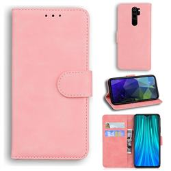 Retro Classic Skin Feel Leather Wallet Phone Case for Mi Xiaomi Redmi Note 8 Pro - Pink