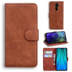 Retro Classic Skin Feel Leather Wallet Phone Case for Mi Xiaomi Redmi Note 8 Pro - Brown