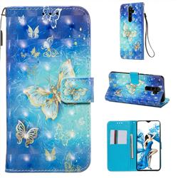 Gold Butterfly 3D Painted Leather Wallet Case for Mi Xiaomi Redmi Note 8 Pro