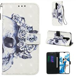 Skull Flower 3D Painted Leather Wallet Case for Mi Xiaomi Redmi Note 8 Pro