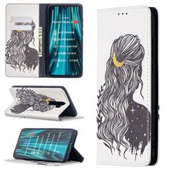 Girl with Long Hair Slim Magnetic Attraction Wallet Flip Cover for Mi Xiaomi Redmi Note 8 Pro