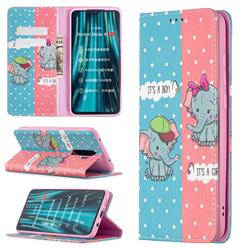 Elephant Boy and Girl Slim Magnetic Attraction Wallet Flip Cover for Mi Xiaomi Redmi Note 8 Pro