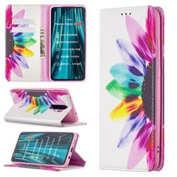 Sun Flower Slim Magnetic Attraction Wallet Flip Cover for Mi Xiaomi Redmi Note 8 Pro