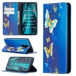 Gold Butterfly Slim Magnetic Attraction Wallet Flip Cover for Mi Xiaomi Redmi Note 8 Pro