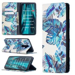 Blue Leaf Slim Magnetic Attraction Wallet Flip Cover for Mi Xiaomi Redmi Note 8 Pro