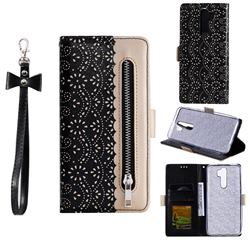 Luxury Lace Zipper Stitching Leather Phone Wallet Case for Mi Xiaomi Redmi Note 8 Pro - Black